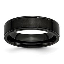 """Chisel Stainless Steel 6mm Black IP-plated Grooved, Brushed and Polished Band"""