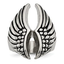 Stainless Steel Polished and Antiqued Wings Ring