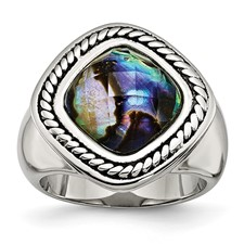 Stainless Steel Antiqued and Polished Synthetic Abalone Ring