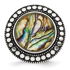 Stainless Steel Polished and Antiqued Synthetic Abalone Ring
