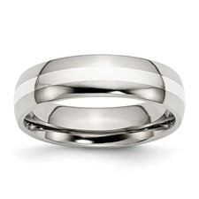 Chisel Stainless Steel Silver Inlay 6mm Polished Band