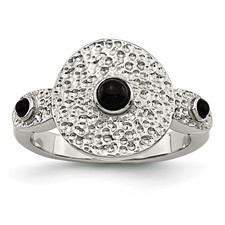 Stainless Steel Polished and Textured Black Onyx Ring