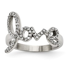 "Stainless Steel Polished ""Love"" with CZs Ring"