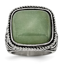 Stainless Steel Antiqued/Polished Chalcedony Aventurine Ring