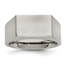 Stainless Steel Polished and Brushed Signet Ring