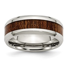 Stainless Steel Polished Brown Wood Inlay Enameled 8.00mm Ring