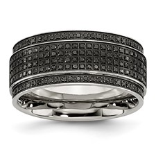 Stainless Steel Polished Diamond Ridged Edge Band