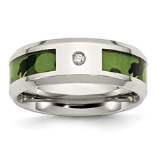 Stainless Steel Polished Camouflage Diamond Band