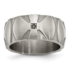Stainless Steel Matte/Antiqued Diamond Band
