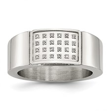Stainless Steel Polished Diamond Ring