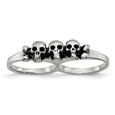 Stainless Steel Polished & Antiqued Two Finger Skulls Ring