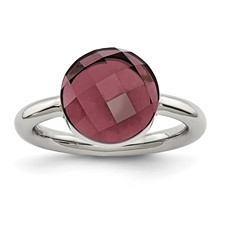 Stainless Steel Polished Maroon Glass Ring