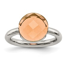 Stainless Steel Polished Peach Glass Ring