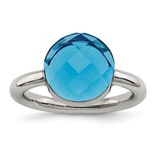 Stainless Steel Polished Blue Glass Ring