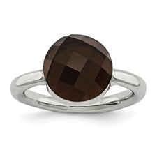 Stainless Steel Polished Dark Brown Glass Ring