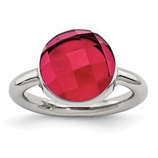 Stainless Steel Polished Red Glass Ring