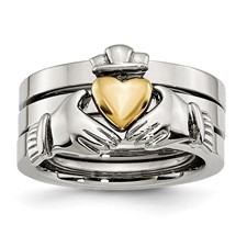 Stainless Steel Polished Yellow IP-plated Claddagh Ring Set