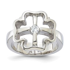 Chisel Stainless Steel CZ Ladies Ring