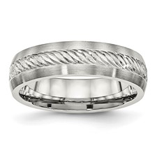 Stainless Steel Brushed w/Silver D/C Inlay Ring