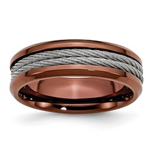 Chisel Stainless Steel Cable and Chocolate IP Plated 7mm Polished Band