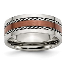 Chisel Stainless Steel Chocolate IP Plated 8mm Polished Band