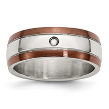 Chisel Stainless Steel Chocolate IP Plated with Diamond 8mm Polished Band