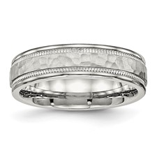 Stainless Steel Polished Hammered and Grooved 6.00mm Band