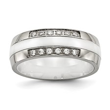 Stainless Steel Polished White Ceramic CZ Ring