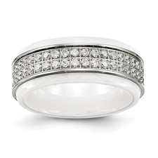 Stainless Steel Polished White Ceramic CZ Ridged edge Ring