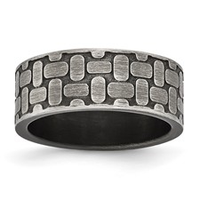 Stainless Steel Brushed Antiqued Textured Ring