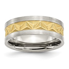 Chisel Stainless Steel Grooved Gold-plated Mens 8mm Brushed Band