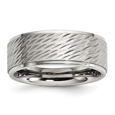 Stainless Steel Brushed and Polished Textured Band