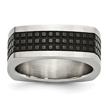 Stainless Steel Brushed/Polished & Textured Black IP-plated Square Band
