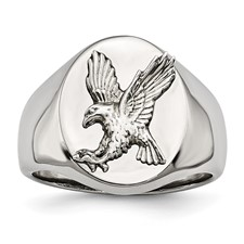 Stainless Steel Polished w/Sterling Silver Rhodium-plated Eagle Ring