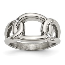 Stainless Steel Polished Crystal Ring