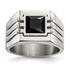 Stainless Steel Brushed and Polished w/ Black CZ Ring