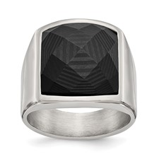 Stainless Steel Polished with Solid Black Carbon Fiber Ring