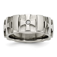 Chisel Stainless Steel Crosses Diamond 8.5mm Brushed and Polished Band