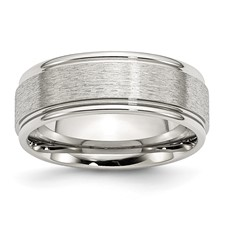 Chisel Stainless Steel Grooved Edge 8mm Satin and Polished Band