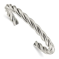 Chisel Stainless Steel Twisted Polished Cuff Bangle