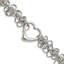 Chisel Stainless Steel Polished Circles with Heart 7.5 inch Bracelet