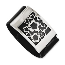 Chisel Stainless Steel Black Leatherette with Polished Flowers Wrap Bracelet