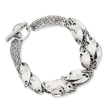 Chisel Stainless Steel Polished Swirl 8 inch Toggle Bracelet
