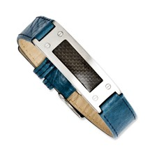 Chisel Stainless Steel Textured Blue Leather with Carbon Fiber Buckle Bracelet