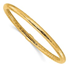 Chisel Stainless Steel Yellow IP-plated Textured and Polished Hollow Bangle