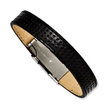 Chisel Stainless Steel Textured Black Leather 8 inch Bracelet