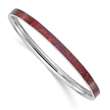 Stainless Steel Red and Black Enameled Bangle
