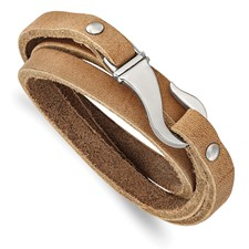 Chisel Stainless Steel Tan Leather Wrap Bracelet
