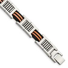 Chisel Stainless Steel Orange and Black Rubber Polished Bracelet