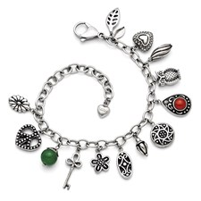 Chisel Stainless Steel Synthetic Jade and Red Glass Charm Bracelet with 2 inch extension